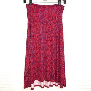 LuLaRoe Red Blue Azure A Line Skirt